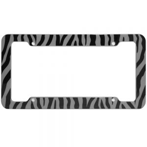 Zebra License Plate Gray & Black Frame
