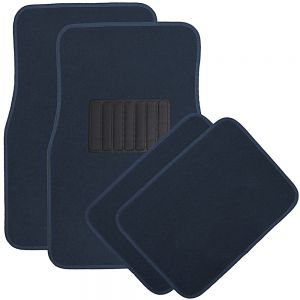 OxGord 4pc Full Set Carpet Floor Mats, Universal Fit Mat for Car, SUV, Van Trucks - Front Rear, Driver Passenger Seat Blue