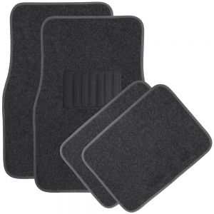 OxGord Universal Fit Front/Rear 4-Piece Full Set Heavy Duty Economy Carpet Floor Mat - Charcoal