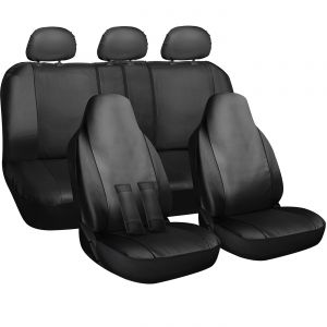OxGord 10pc Leather seat cover, Black