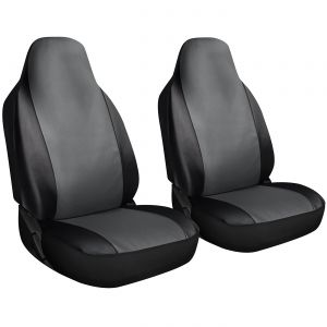OxGord 2pc Integrated Leatherette Bucket Seat Covers, Universal Fit for Car, Truck, Van, SUV - Gray
