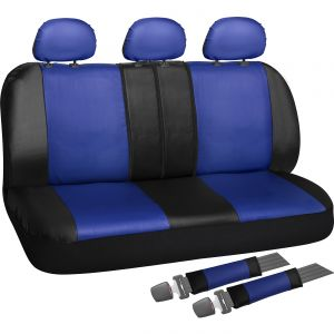 OxGord Back Seat Cover - PU Leather Rear Bench Universal Fit Car, Truck, SUV, Van - 8 Piece