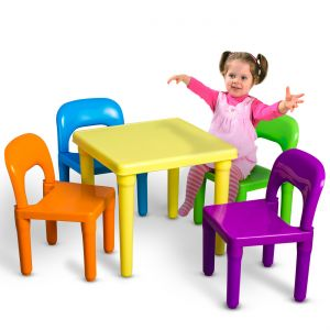 OxGord Kids Table and Chairs Play Set for Toddler Child Toy Activity Furniture Indoor or Outdoor