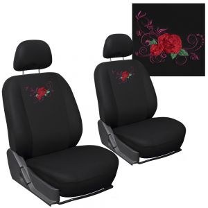 6pc Seat Cover Embroidered Red Rose Detachable Bucket
