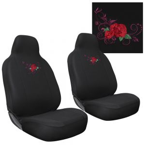 2pc Seat Cover Embroidered Red Rose Integrated