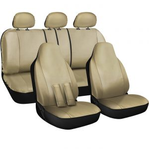 OxGord 10pc PU Leather Seat Cover, Beige