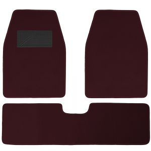 3pc Vehicle Car Truck Floor Mats, Burgundy
