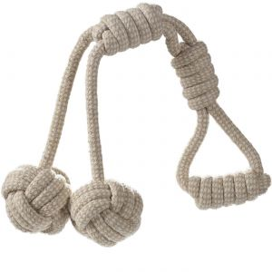 Dog Chew Toy Y Balls for Pets Puppy – Cotton Braided Fetch and Teething Play Toy - Beige/White
