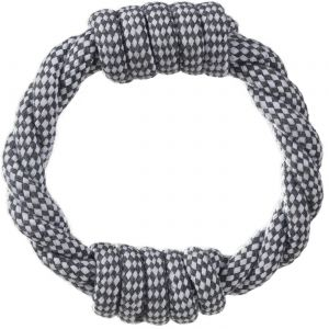 Paws & Pals Dog Chew Ring Rope for Pets Puppy – Cotton Braided Fetch and Teething Play Toy - Black/White