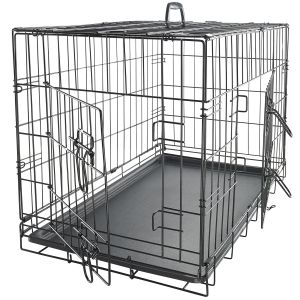 "Paws & Pals 24"" SM Dog Crate Double-Door Folding Metal - Wire Cage w/ Divider & Tray for Training Pets - Newly Designed 24"" x 16"" x 20"" Inches"