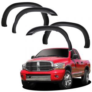 Fender Flares for 02-08 Dodge Ram 1500/2500/3500 - (Pack of 4) Bolt On Pocket Rivet Style Re-Paintable Matte Black - Hardware Kit Included