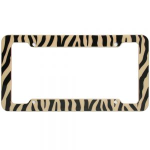 Zebra License Plate Beige & Black Frame