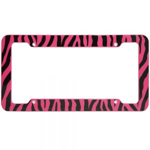 Zebra License Plate Pink & Black Frame