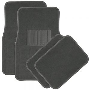 OxGord Universal Fit Front/Rear 4-Piece Full Set Heavy Duty Economy Carpet Floor Mat - Gray