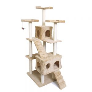 Paws & Pals 28x24x72-Inch Condo Cat Tree With Scratching Post And Toys - Tan