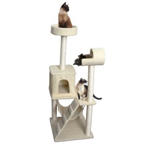 Paws & Pals 20x22x53-Inch Condo Cat Tree Multi-level Tower With Scratching Post And Toys Tan Ladder