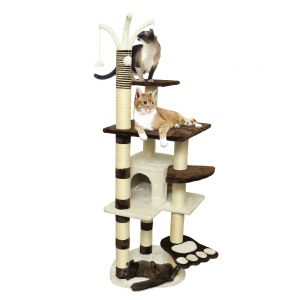 Paws & Pals 22x53x64 Cat Tree House w/Scartching Post Towers, Hammock Bed & Pet Toy Balls , Multi 6 Level Condo w/Stairs - Brown And White