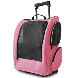 Pink Pet Rolling Backpack for Crate Carrier Travel