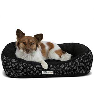 Paws & Pals Dog Bed for Pets & Cats - Triangle Corner Lounger with Self Warming Cozy Inner Cushion for Home, Crate & Travel - Medium, Black