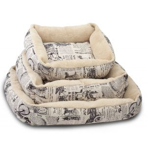 Paws & Pals Pet Bed for Cat and Dog Crate Pad - Deluxe Premium Bedding with Cozy Inner Cushion- Durable Model - 1800's Newspaper Design  - Large