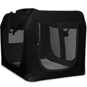 "Paws & Pals Foldable Soft Sided Dog Crate Training Kennel Carrier for Cats and Pets – 40"" x 27"" x 28"" Inches Black"