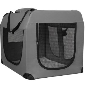 Paws & Pals Dog Crate Soft Sided Pet Carrier - Foldable Portable Soft Pet Crate Training Kennel - Great for Indoor or Outdoor Grey - XL