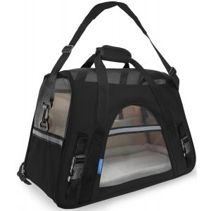 Black Pet Carrier Soft Sided Travel Bag Airline Approved For Cats & Dogs - LG