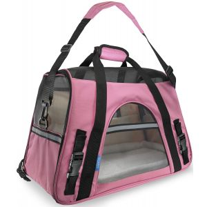 Paws & Pals Pet Carrier Soft Sided Travel Bag Airline Approved For Cats & Dogs - LG - Pink