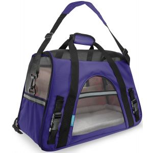 Paws & Pals Pet Carrier Soft Sided Travel Bag Airline Approved For Cats & Dogs - LG - Purple
