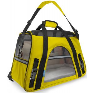 Paws & Pals Pet Carrier Soft Sided Travel Bag Airline Approved For Cats & Dogs - LG - Yellow
