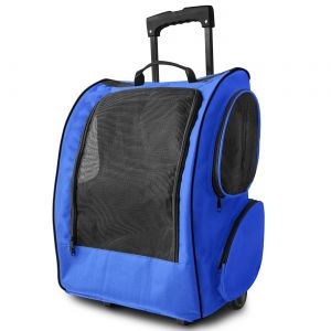 Blue Pet Rolling Backpack for Crate Carrier Travel