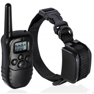 Paws & Pals Rechargeable Remote Dog Training Collar 330 Yard Radius LCD 100LV Shock Pet Bark, 1 Collar