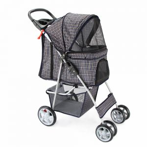 Paws & Pals City Walk N Stride 4 Wheeler Pet Stroller for Dogs and Cats, Plaid Blue