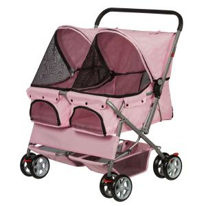 Pink Double Pet Stroller
