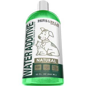 Paws & Pals Pet Water Additive for Fresh Dog Breath Teeth Plaque Tarter Removal Dental Care - 32 oz.