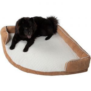 Paws & Pals Dog Bed for Pets & Cats - Triangle Corner Lounger with Self Warming Cozy Inner Cushion for Home, Crate & Travel - Corduroy, Beige