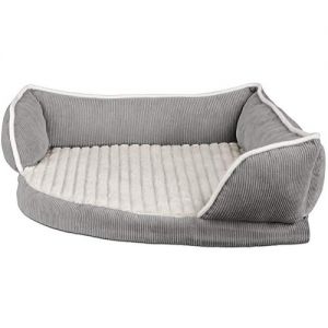 Paws & Pals Dog Bed for Pets & Cats - Triangle Corner Lounger with Self Warming Cozy Inner Cushion for Home Crate & Travel - Medium, Gray
