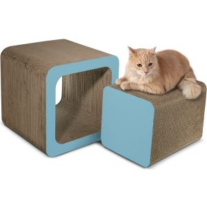Paws & Pals Square Cat Scratcher Post and Lounger -  2-in-1 Removable Cardboard Scratching Cube Insert  with Catnip-Blue