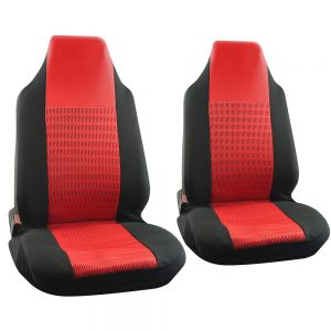 Seat Cover Set 2pc Wide Stripe Black Red