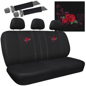 8pc Seat Cover Embroidered Red Rose Bench