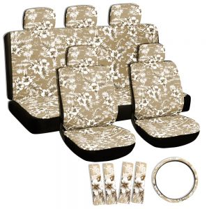 17pc Hawaiian Seat Covers, Beige