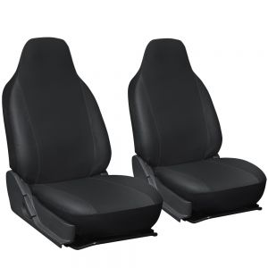 OxGord 2pc Integrated Leatherette Bucket Seat Covers, Universal Fit for Car, Truck, Van, SUV - Black