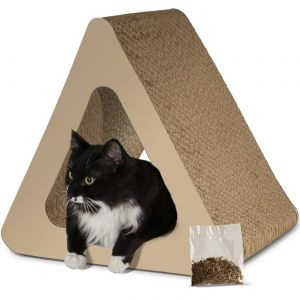 Paws & Pals 3-Sided Vertical Cat Scratcher Post - Different Cardboard Scratching Triangle Angles with Catnip-Beige